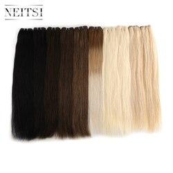 Extensiones de cabello humano Remy hechas a máquina recta Neitsi, 20 pulgadas 24 pulgadas 100 g/unidad, mechones de trama de tejido de pelo de color negro Rubio Ombre Piano