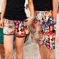 Плюс Размер Новый год 2017 Шорты Повседневные мужские Брюки купальники Марка Boardshorts Женщины летний пляж печати цветочные купальники доска