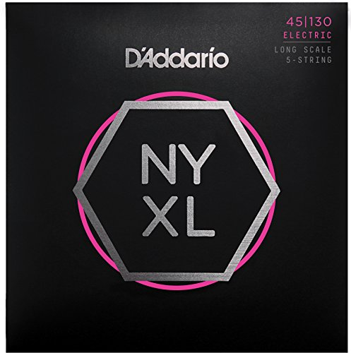 D'Addario NYXL45130 Nickel Wound Bass Guitar Strings, 5-String Regular Light, 45-130, Long Scale d addario daddario exl110 american made nickel wound electric guitar strings regular light 10 46