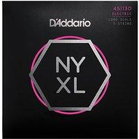 D'Addario NYXL45130 Nikkel Wond Basgitaar Snaren, 5-String Regelmatige Licht, 45-130, lange Schaal