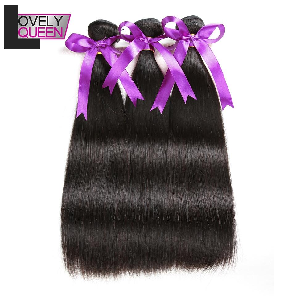 Lovely Queen Hair Peruvian Straight Hair 3 Bundles 100% Real Human Hair Non Remy Straight Bundles