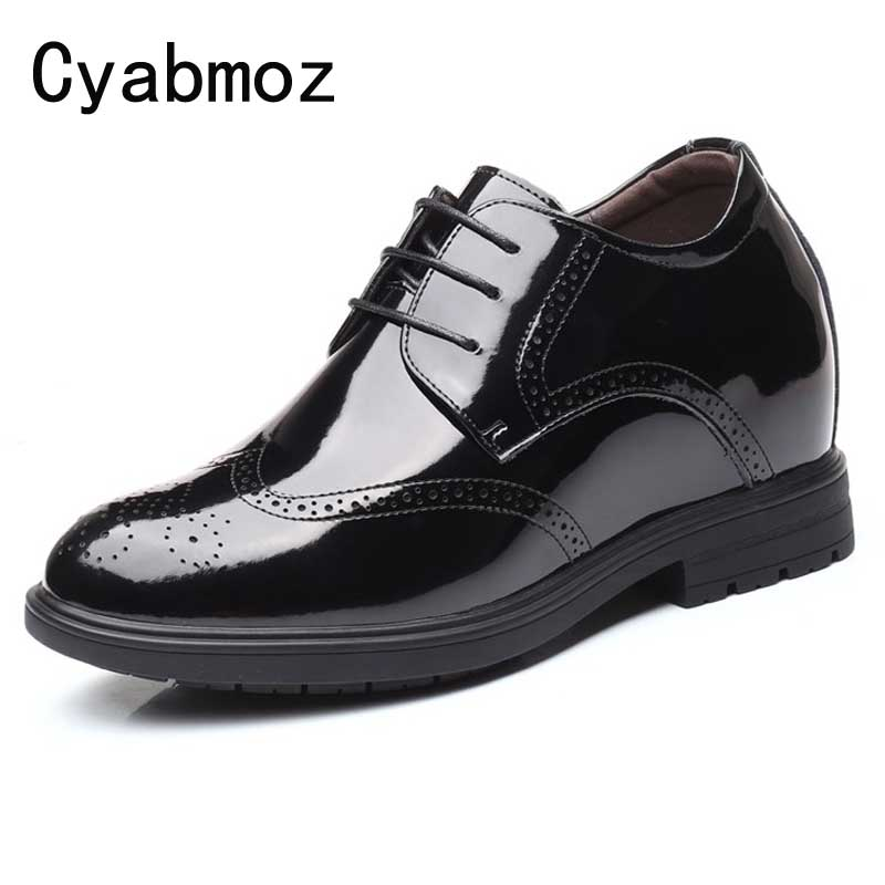 Men Split Leather Elevator Shoes Business Dress Height Increase Shoes With 10cm Taller Patent Leather Man Brogues Shoes OxfordsMen Split Leather Elevator Shoes Business Dress Height Increase Shoes With 10cm Taller Patent Leather Man Brogues Shoes Oxfords