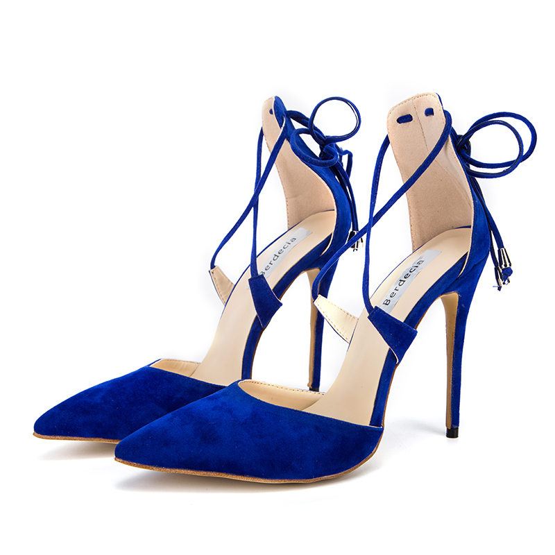 Berdecia Fashion Blue lace-up Thin High Heels Woman Elegant Ankle Strap Pointed Toe Pumps Sandals Party Classics Shoes Women