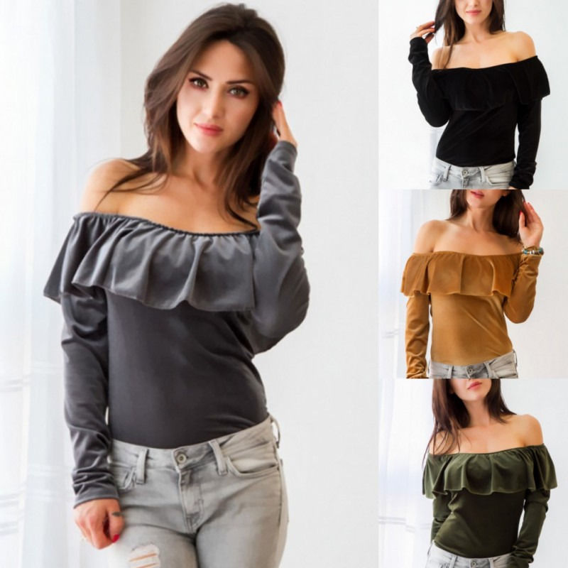 Solid Women Velvet Warm Croped Long Sleeve Ruffle Off Shoulder Tops T-shirt women clothes