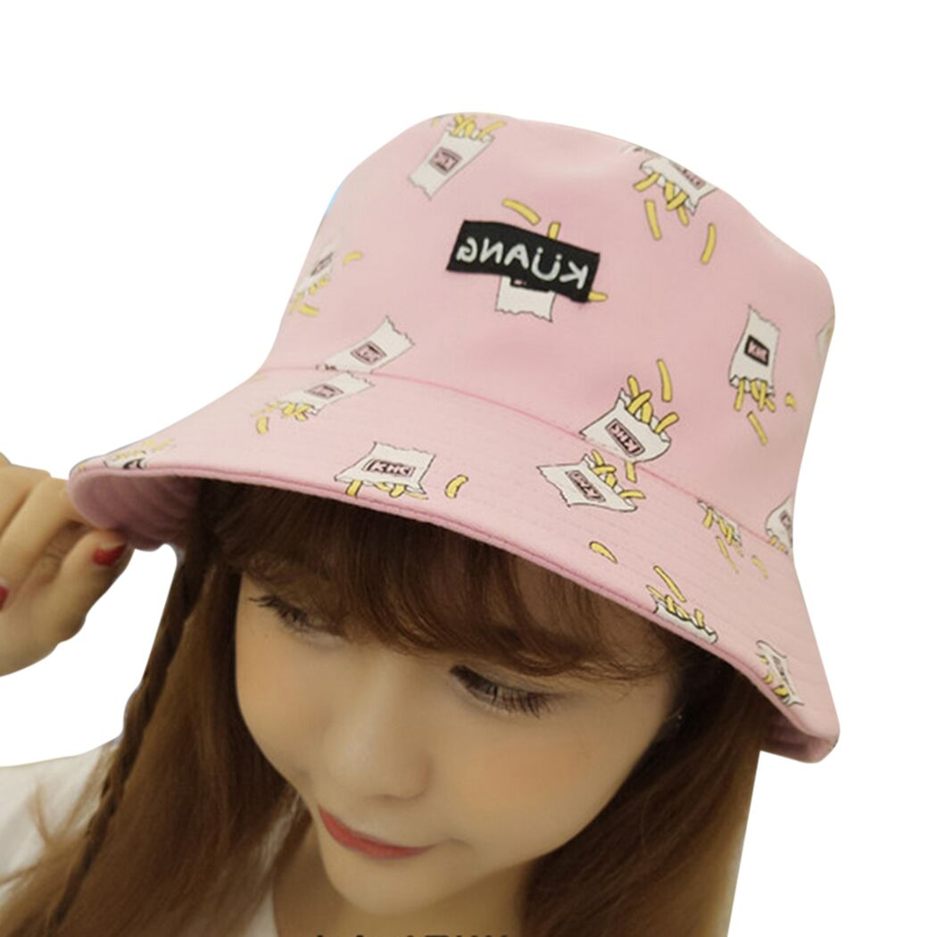 Fashion French Fries Printed Women Bucket Hats Cap Cotton 2018 Summer Hip Hop Caps Beach Sun Fishing Ladies Hat Gorras Mujer