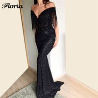 Arabic Beading Mermaid Evening Dresses 2018 New Robe de soiree Turkish Arabic In Dubai Formal Prom Gowns Dress Glitter Vestidos
