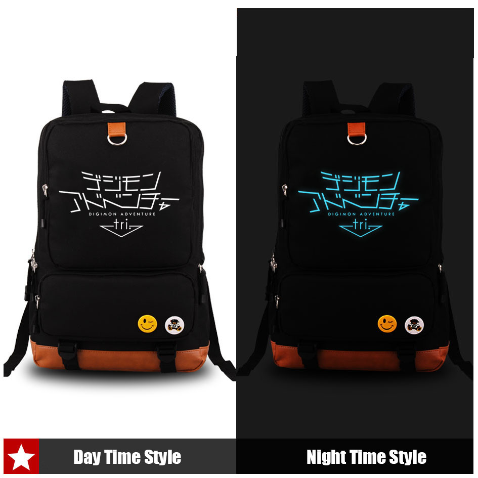 ФОТО Digimon Adventure 2016 New Arrival Canvas Unisex Luminous Shoulders Bag Traveling Backpacks Students School Laptop Bags