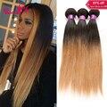 7A Ombre Extensões de Cabelo 1B/27 Marrom Raízes Escuras Loira Peruano Tecer Cabelo Humano Em Linha Reta 3 Bundles Pervian Virgem cabelo Liso