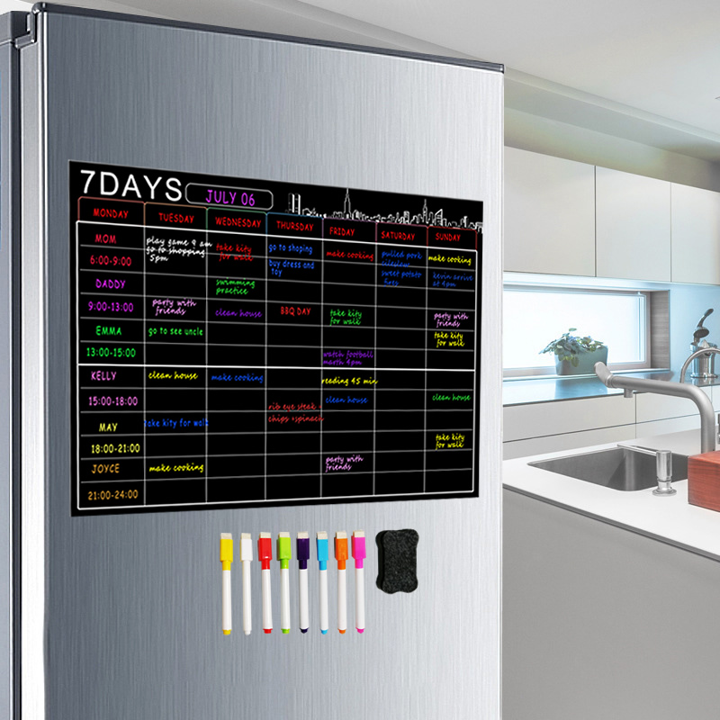 Magnetic Dry Erase Calendar Set 16x12'' Whiteboard Weekly Planner Organizer A3 White Board For Refrigerator Fridge Kitchen Home