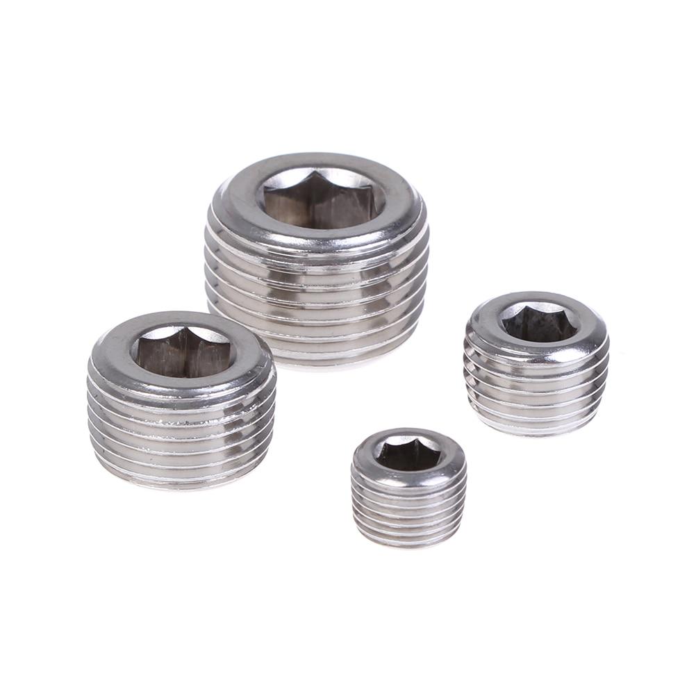 "Silver 1//8/"" 1//4/"" 3//8/"" 1//2/"" NPT Iron Internal Hex Thread Socket Pipe Plug Kit New"