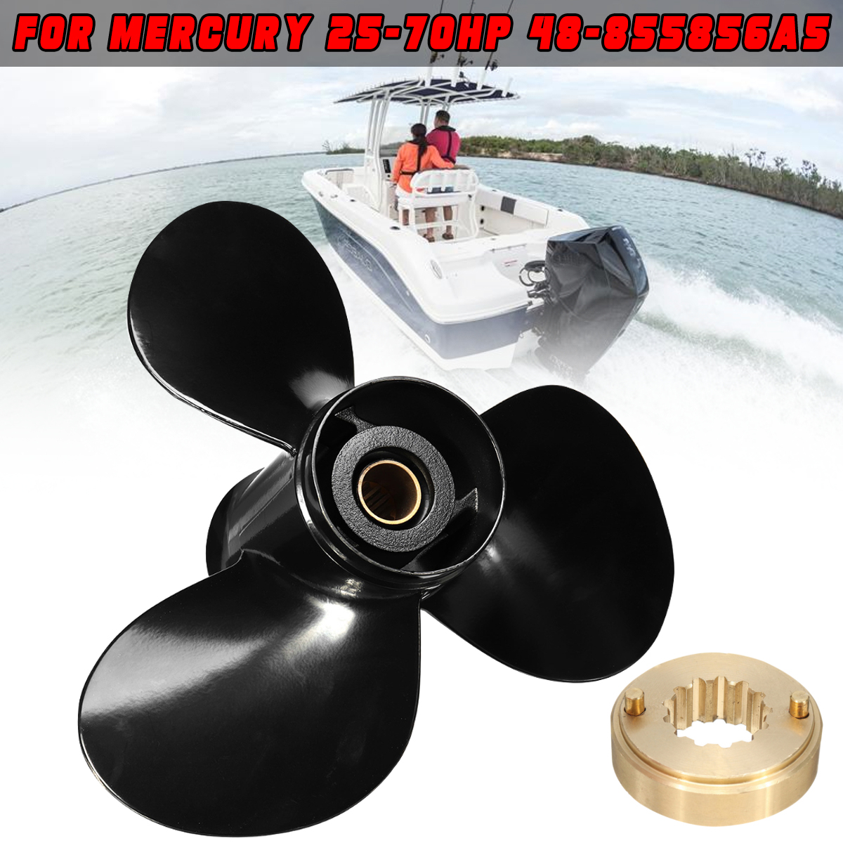 48 855856A5 11 3/8 x 12 Boat Outboard Propeller Aluminum Alloy Fit for Mercury 25 70HP 3 Blades 13 Spline Tooths R Rotation-in Marine Propeller from Automobiles & Motorcycles    1