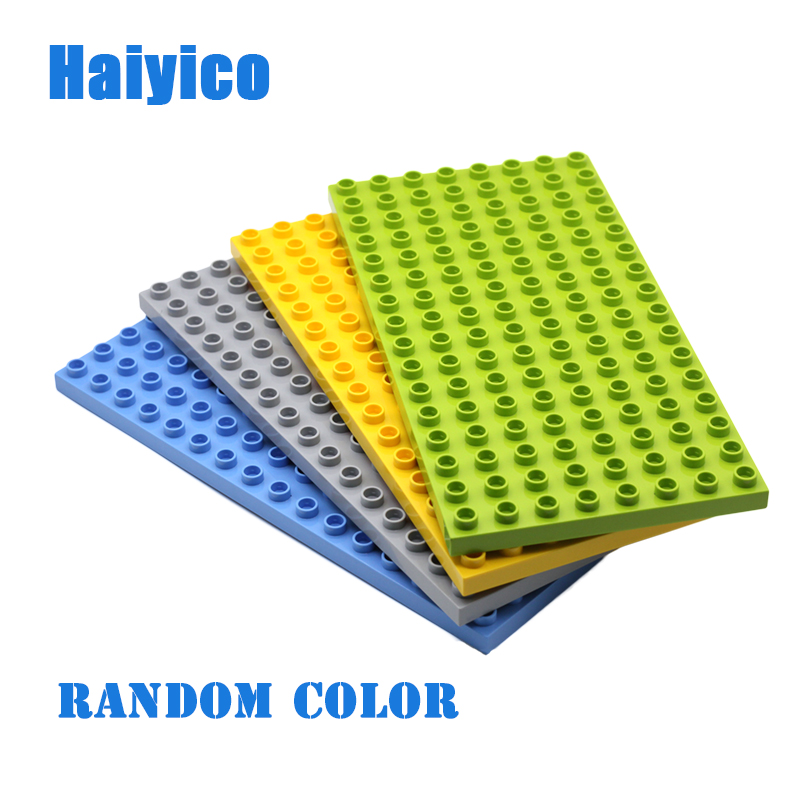 Haiyico Duplo Classic Baseplate Floor 128 dots Big Size Building Blocks 16x8 Dots Bricks Assemble Accessories Sets Baby DIY Toys new big size 40 40cm blocks diy baseplate 50 50 dots diy small bricks building blocks base plate green grey blue