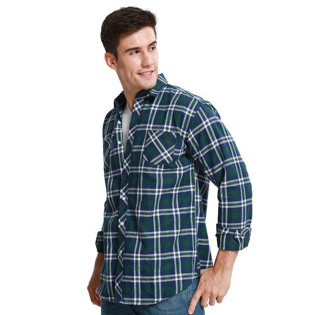 JeeToo Jesień Przyjazdowy Mężczyzn Kratę Koszula Flanelowa Z  ybIk9