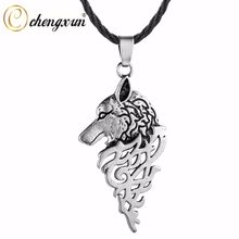 CHENGXUN Men Cool Punk Necklace Wolf Head Pendant Norse Slavic Kolovrat Amulet Gothic Original Animal Jewelry for Friends(China)