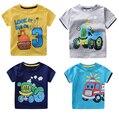 2017 Máquinas de Autos Niños Del Verano Camisetas Bebé Infantil Chicos Chicas Camión de Bomberos/Grúa de Dibujos Animados T-Shirt de Algodón de Manga Corta Remata camisetas