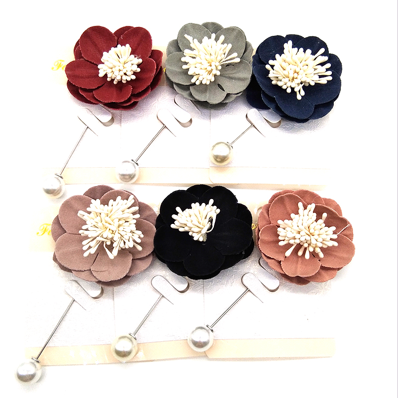 New Hijab Pins Wholesale 12PCS Flower Fabric Muslim Hijab Brooches For Women Safety Abaya Khimar Silver Pins Mix Color