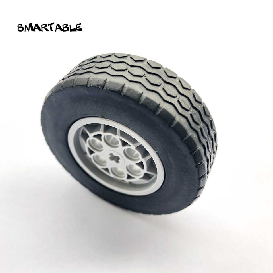 Smartable Technic Ev3 MOC 62.4x20mm Wheel Tyre Parts Building Block Toy For Car Compatible technic 32019+86652 4pcs/set