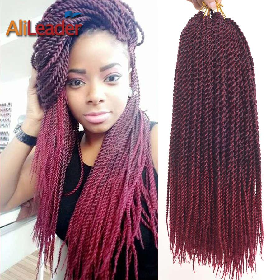 Burgundy Ombre Senegalese Twist Hair Roots
