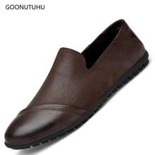 Fashion men's casual shoes genuine leather cow slip on loafers male big size shoes for men platform shoes black & brown shoe man цена 2017