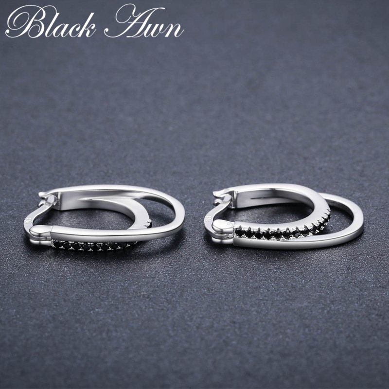 BLACK AWN 3.8g 925 Sterling Silver Row Black Spinel Trendy Engagement - Fina smycken - Foto 3