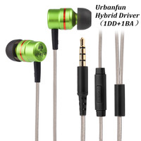 New URBANFUN Balanced Armature With Dynamic In Ear Earphone BA Driver Noise Cancelling Headset With Mic