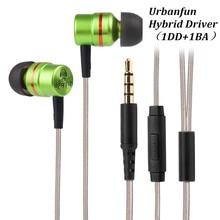Original URBANFUN Hybrid Unit 1BA With 1DD In ear font b Earphone b font 3 5MM