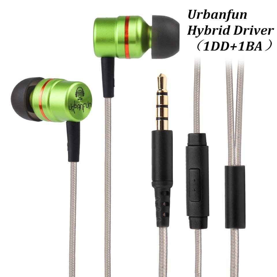 Original urbanfun unidad híbrida 1BA con 1DD in-ear auricular 3.5mm HiFi Cancelación de ruido auriculares con micrófono envío gratis