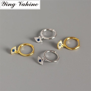 ying Vahine New Arrival Evil Eyes Earring 100% 925 Sterling Silver Mini Zircon Blue Eyes Pendant Small Stud Earrings for Women(China)
