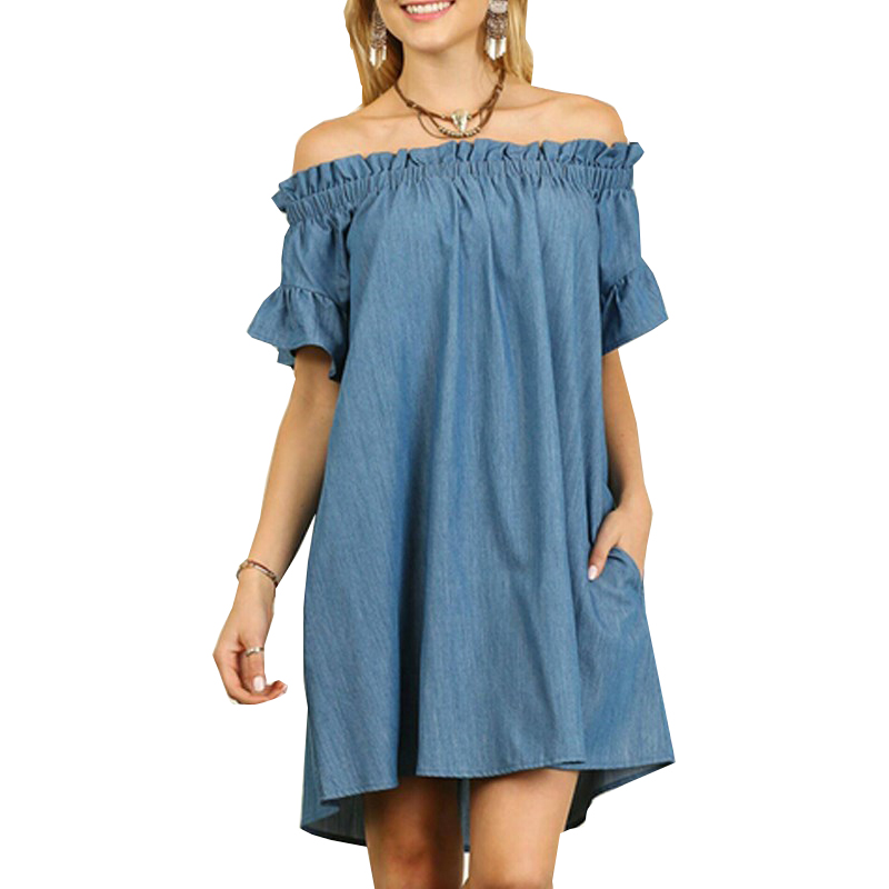 Women's Clothing Women Summer Dresses 2019 Aliexpress New Fashion Casual Sexy Solid Color Slash Collar Denim Dress Vestidos Dropshipping Kf1222 A Wide Selection Of Colours And Designs