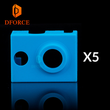 DFORCE 5PCS high quality cartridge heater bock silicone socks V6 for PT100 heated block v6 hotend nozzle