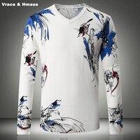 Chinesische element persönlichkeit 3D druck mode lässig pullover pull homme Herbst & Winter 2017 qualität baumwolle pullover männer M-XXXXL