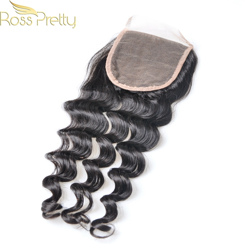 Ross Pretty Hair 1pcs Brazilian Remy Hair Loose Deep Human Hair Lace Closure Natural Color Black Quality 4x4 Closure