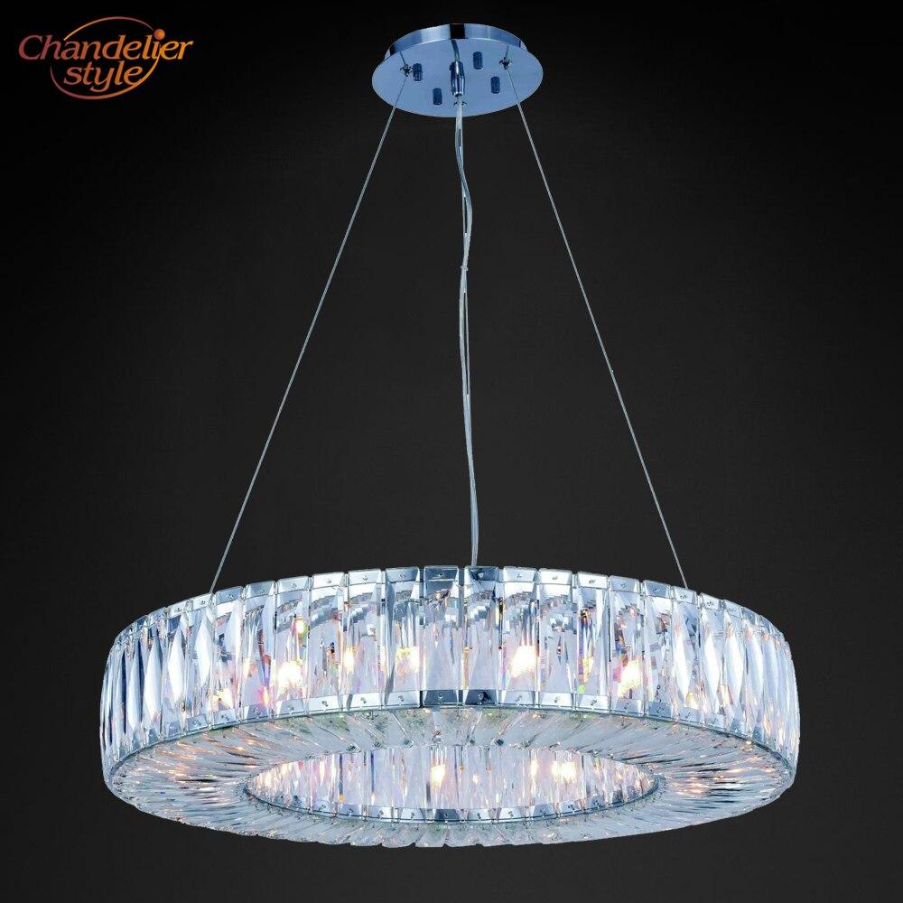 Auréola de Luz Da Lâmpada de Iluminação Lustre de Cristal moderno de Luxo Rodada Lustres Pendurados Acessórios para Casa Restaurante Sala De Jantar