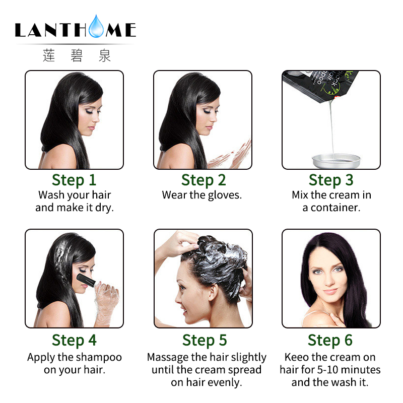 New Lanthome De xe black hair shampoo in black hair color Only 5minutes Fast Hair Dye Permanent Coloring Cream Building Fibers 5