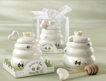 "30sets/lot wedding favor and giveaways -- ""Meant to Bee"" Ceramic Honey Pot with Wooden Dipper party favors"