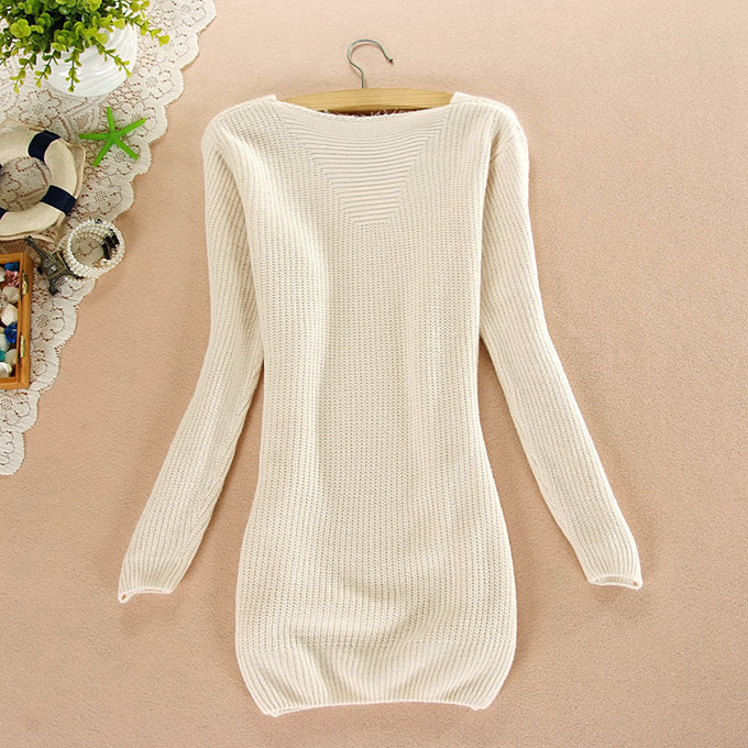 Knitted Sweaters 2017 Autumn New Fashion Long Sleeve O Neck White ...