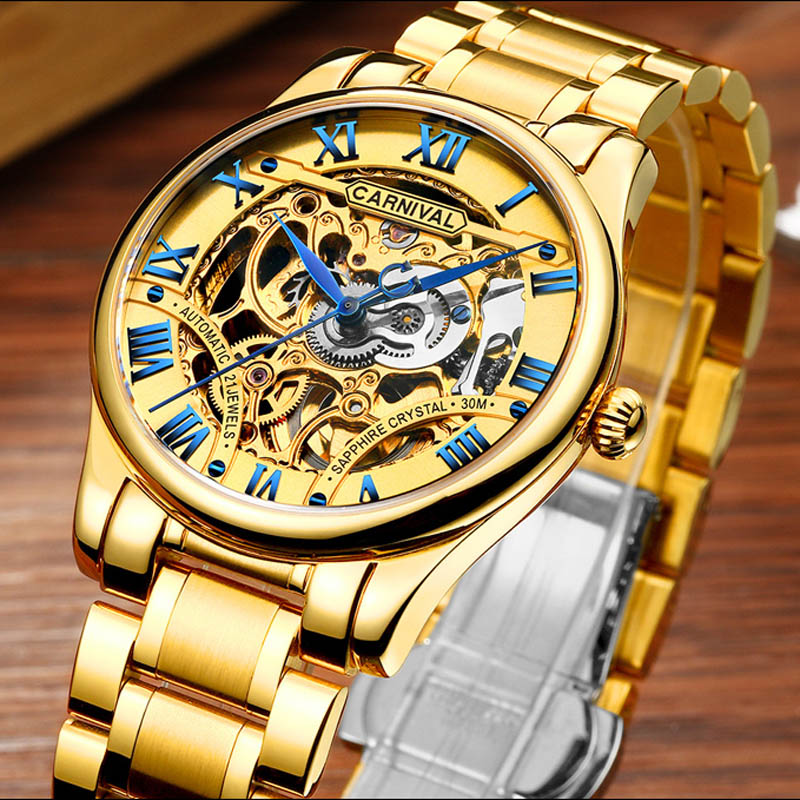 CARNIVAL Men Unique design Sapphire Waterproof fashion mechanical watches Golden skeleton watch Top brand luxury Automatic Watch все цены