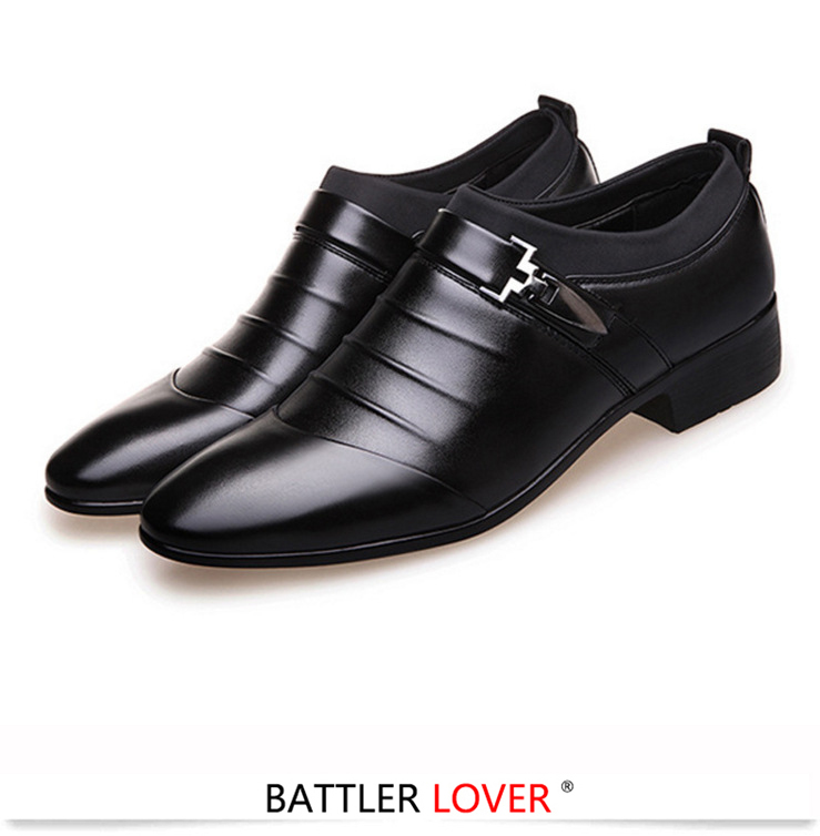 Slip On Split Leather Pointed Toe Dress Shoes