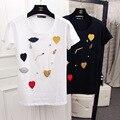 2017 camiseta del verano que rebordea hecho a mano ocasional hembra delgada de algodón cuello redondo manga corta mujer camiseta top de gran tamaño camisetas mu