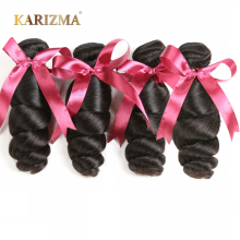 Karizma Brazilian loose Wave 4 Bundles Deal 100% Human Hair Extensions Non Remy Hair Natural Color Brazilian Hair Weave Bundles