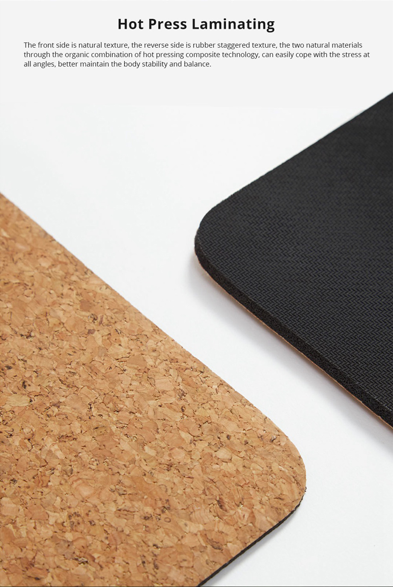 XIAOMI YUNMAI 4mm Natural Rubber Soft Cork Yoga Mat 8