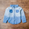 2017 spring babys children's cotton denim shirt kids pure solid blouse