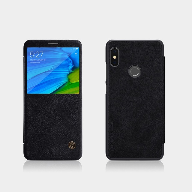 4fba9d62da945 Redmi note 5 pro case 5.99 NILLKIN Vintage PU leather Flip Cover smart wake  up view window for Xiaomi Redmi Note 5 Prime Case