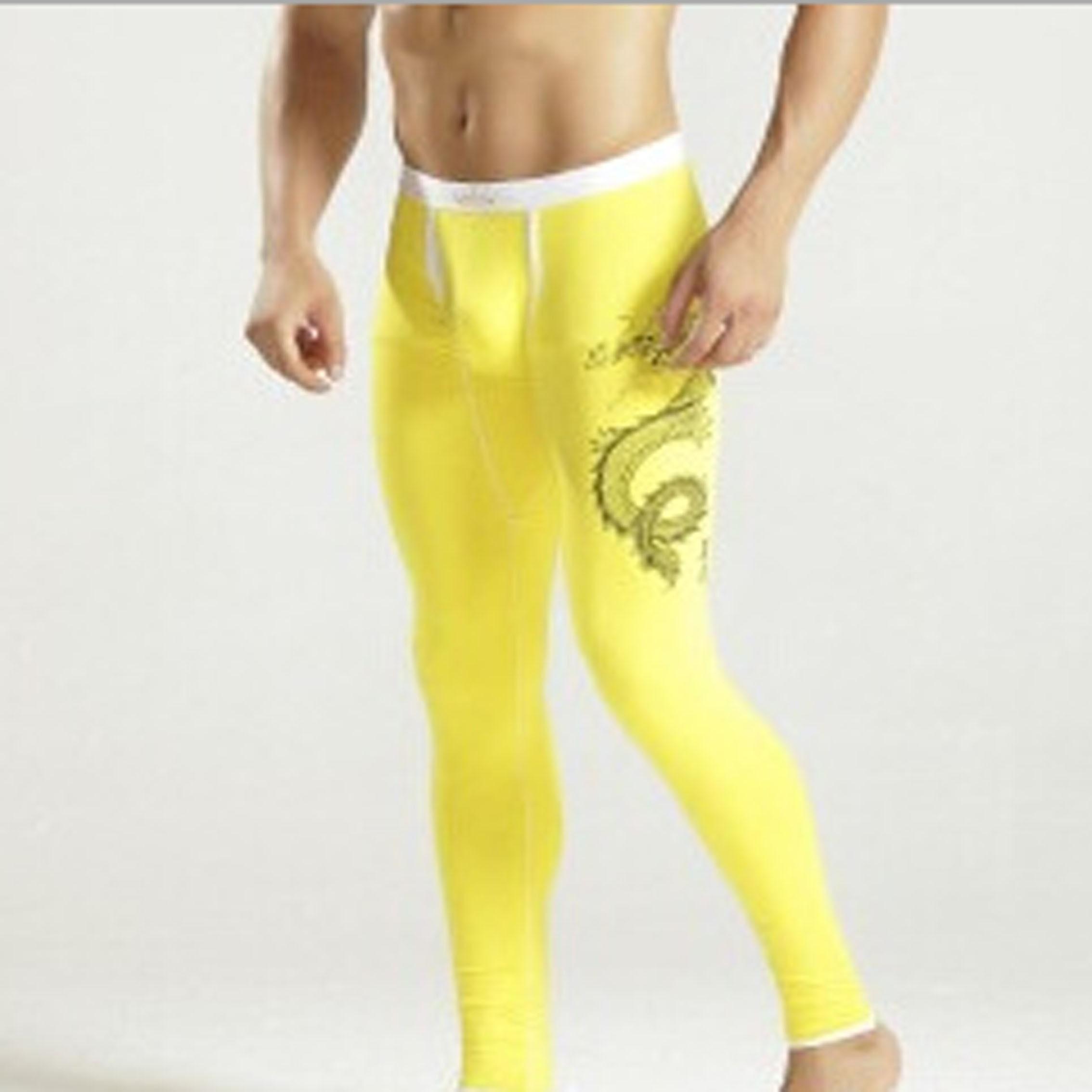Mens Modal Thermal Underwear Long Johns Warm Thicken Leggings Pants Dragon Printed Autumn Winter Sleepwear U Convex Pajamas