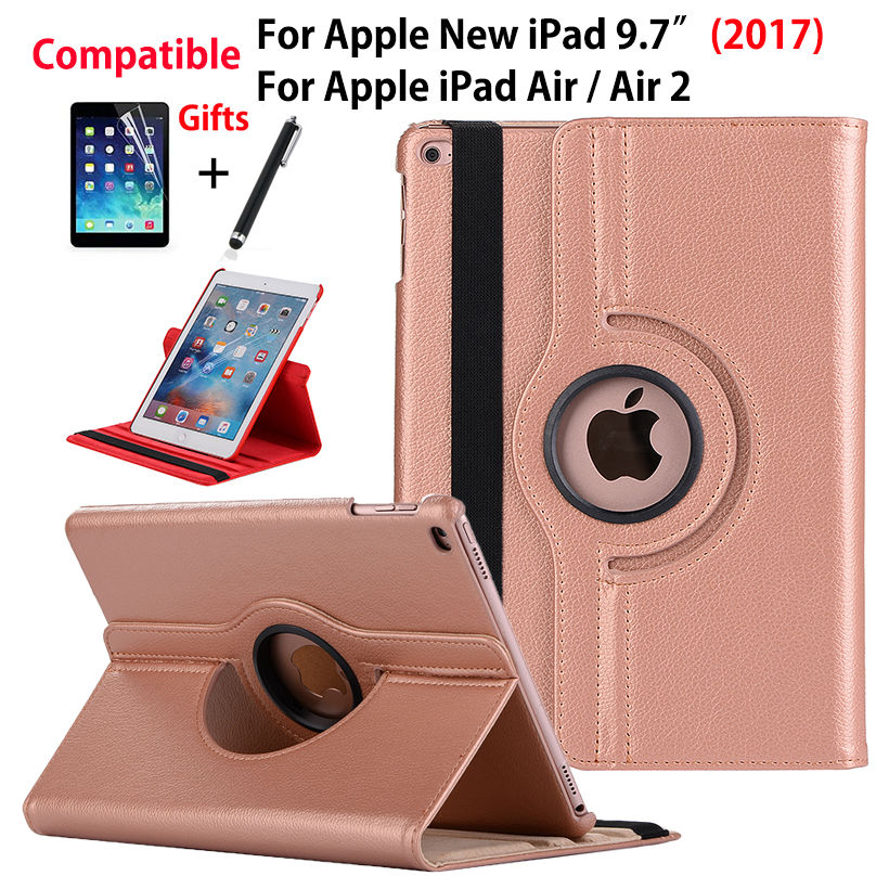 360 Degree Rotating Case For Apple New iPad 9.7 2017 Cover For iPad air air2 ipad 5 6 Funda Tablet Leather Stand Shell+Film+Pen case for apple ipad 5 6 air1 air2