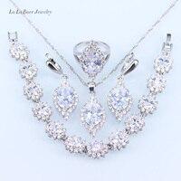 L & B Clássico Strass Branco Conjuntos de Jóias Para As Mulheres de cristal Pingente de cor 925 Selo de Prata/Colar/Pulseira/brincos/Anéis