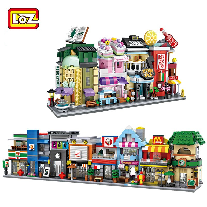 LOZ Building Blocks City Street McDonald Station Toys Figur Children Gift DIY