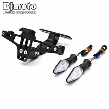 BJMOTO Universal Motorcycle CNC License Plate Frame Licence Holder Motor Number Plate Holder for Yamaha Kawasaki Aprilia
