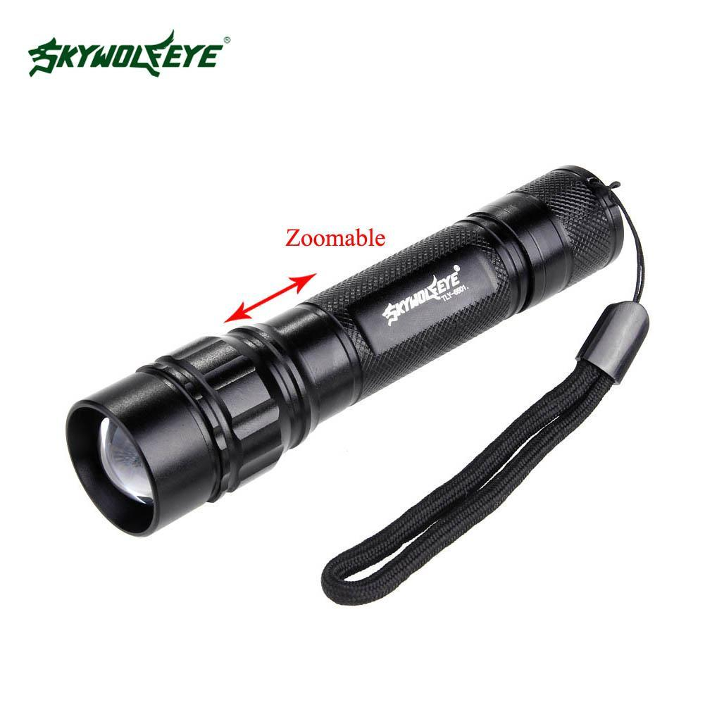 SKYWOLFEYE LED Flashlight 18650 zoom torch Waterproof flashlights 300LM 3 Modes LED Zoomable light For 18650 3.7v Battery A609-in LED Flashlights ...