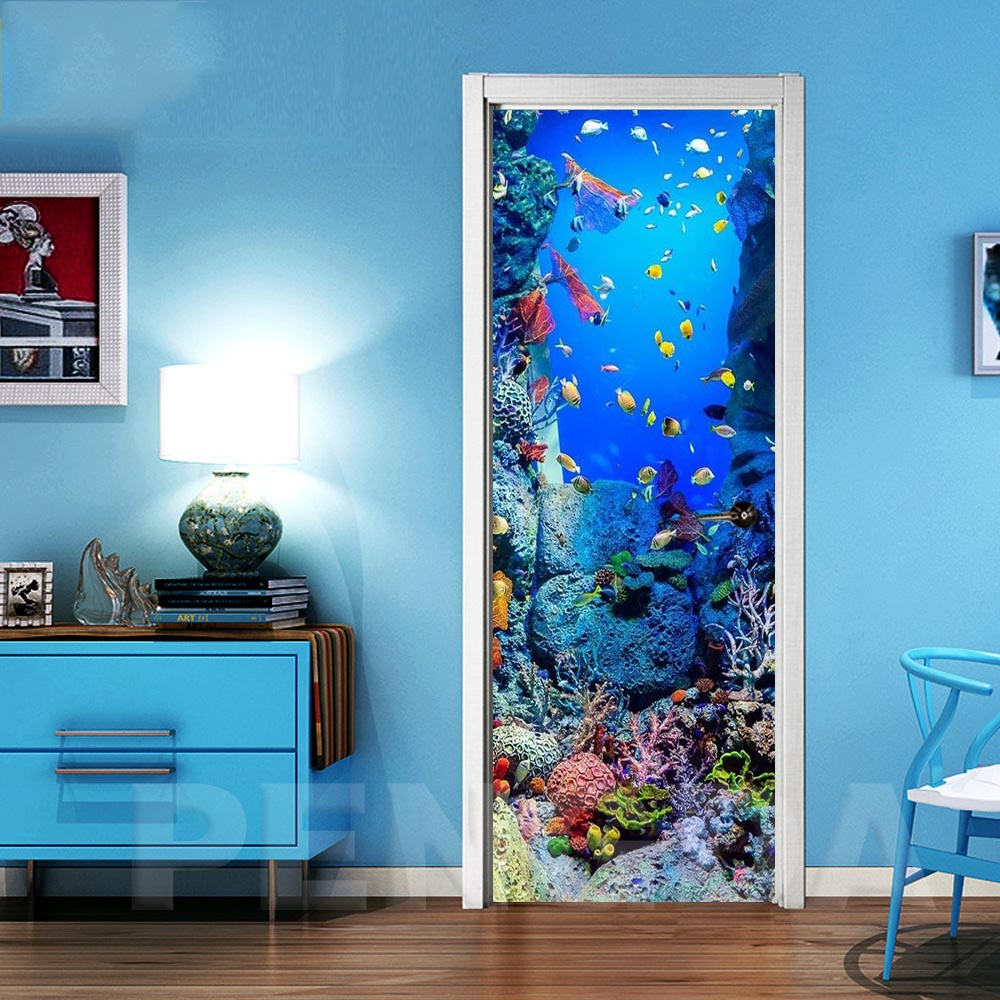 3D Self Adhesive Wall Art Decal On Fish Bottom World Door New Sticker For Home Door Decoration Renovation Print Canvas Picture